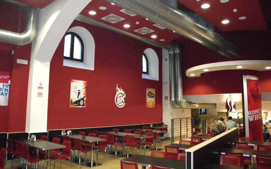 Progettazione della Sala principale del fast food di Burgher kING