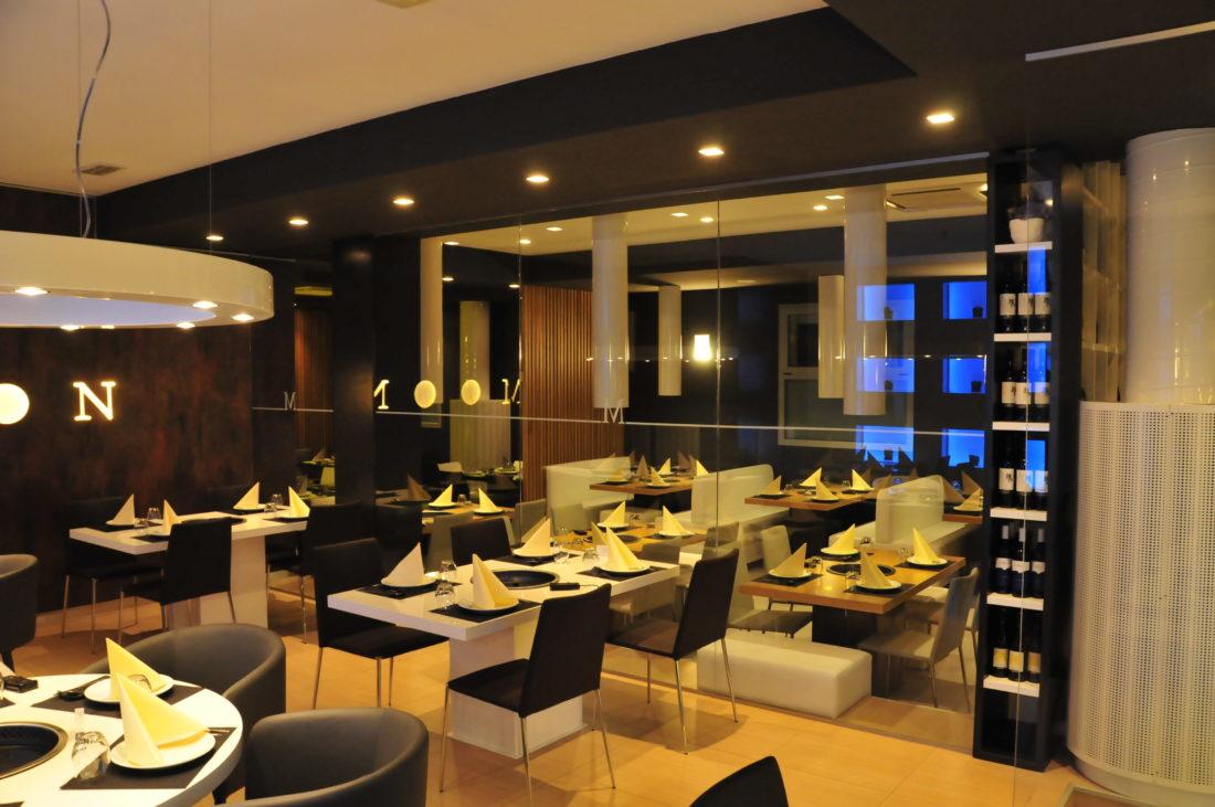 Progetto architettonico della sala principale del ristorante Koreano Moon nella città di Ferrara