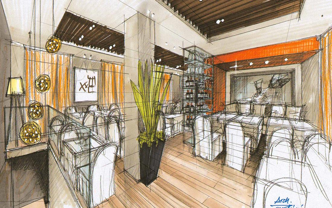Prospettiva a mano del progetto d'interni del ristorante DONG YA di Milano