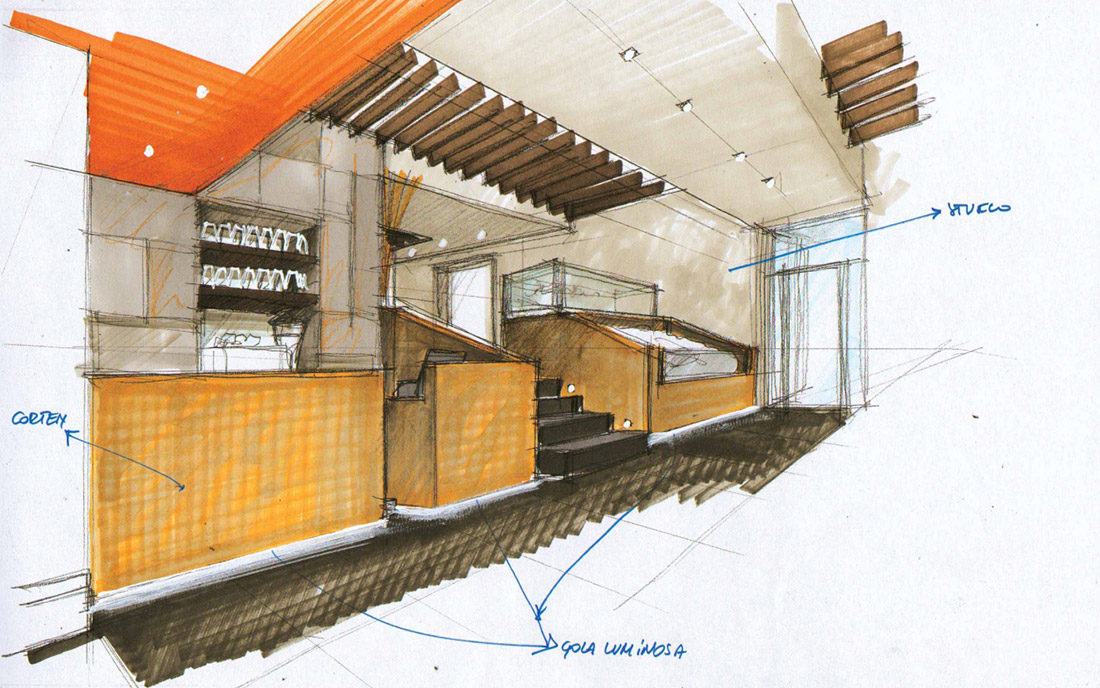 Prospettiva a mano della progettazione d'interni del ristorante cinese DONG YA a Milano