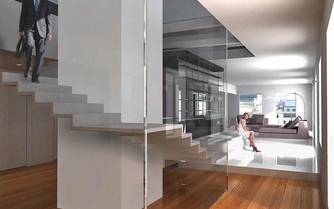 Render della scala interna per la ristrutturazione dell'appartamento privato sito in Milano