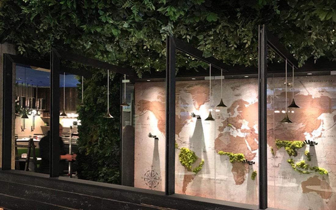 Progetto architettonico della caffetteria Nui City Jungle Cafè nella città di Milano