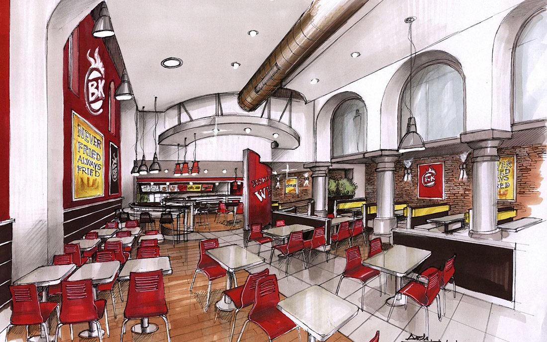 Prospettiva a mano del locale fast food di Burgher King